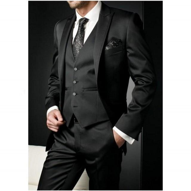 Отделка подходит черный мужской костюмы мужчины свадебные костюмы максимумом нагрудные одна кнопка дружки смокинги