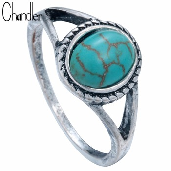 2017 Wholesale Elegant Turquoise Rings For Women Natural Resin Stone India Bohemian Fashion Jewelry Statement Noble Anel Bague