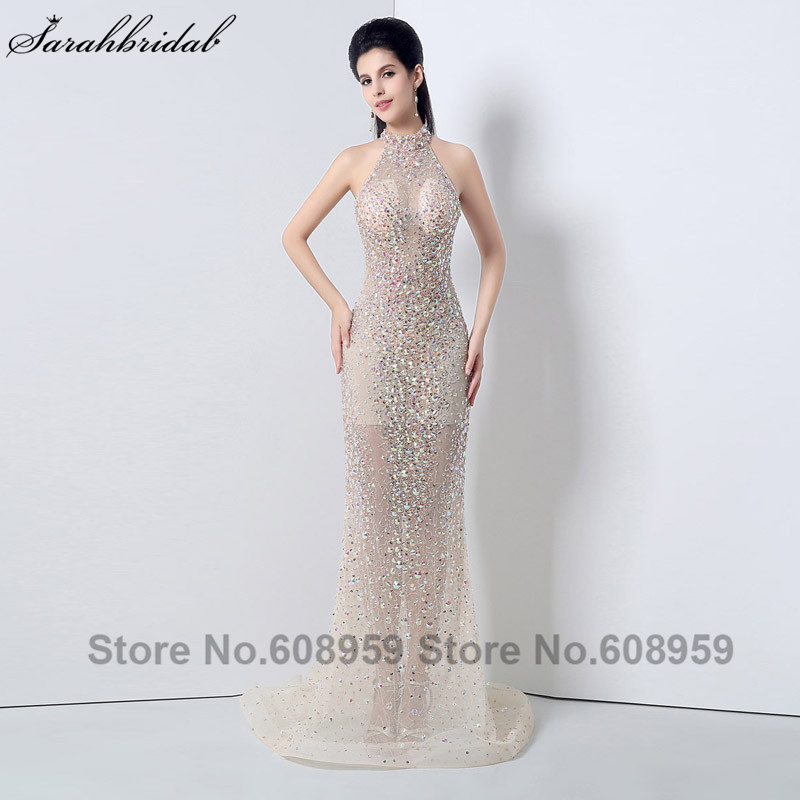 Sexy Nude Sheer Crystal Backless Sheer Formal   Evening     Dresses   High Neck Prom   Dresses   Mermaid Special Occasion   Dress   JS007