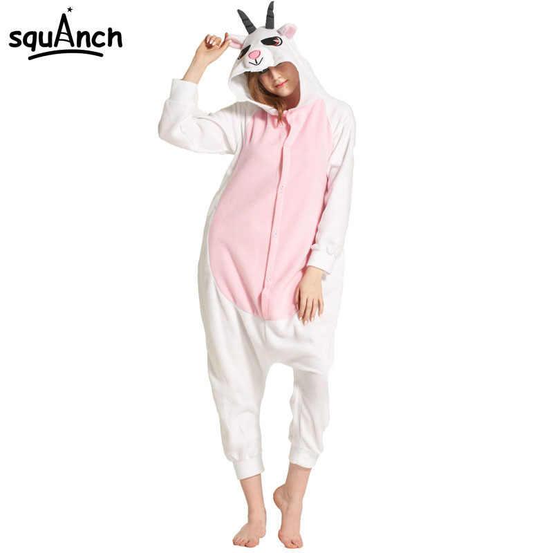 Animal Goat Onisie Kigurumi Girl Women Adult Sheep Pajama Pink White Funny  Cartoon Overalls Jumpsuit Winter 1b8127df98dd9