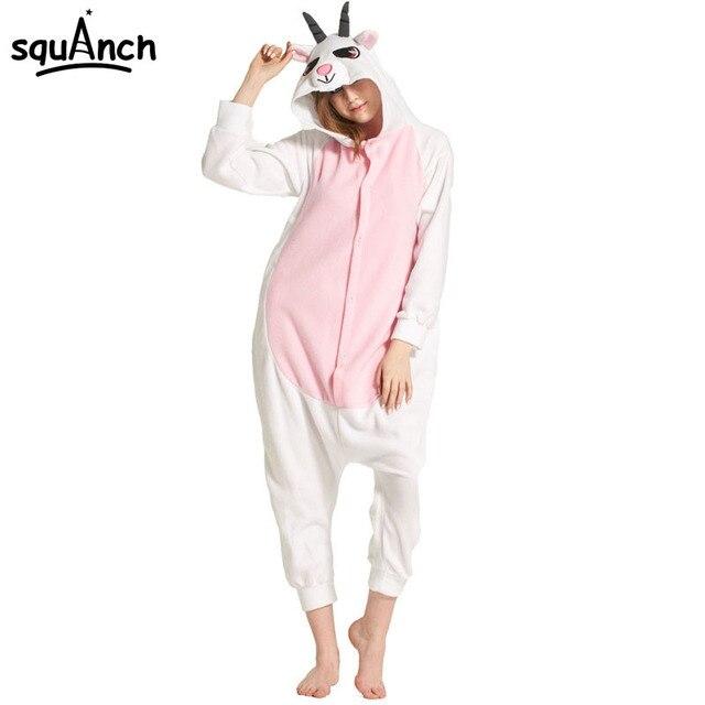 Животных Коза Onisie Kigurumi девушка Для женщин взрослых овец пижамы  розовый белый Забавный мультфильм комбинезоны комбинезон 37d01db4eb0dc