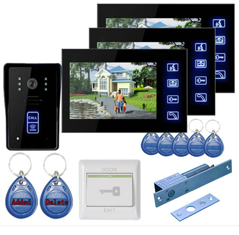 7 Inch TFT Monitor Touch Screen Intercom Video Door Phone With Key Tag and Door Lock buy tft monitor online