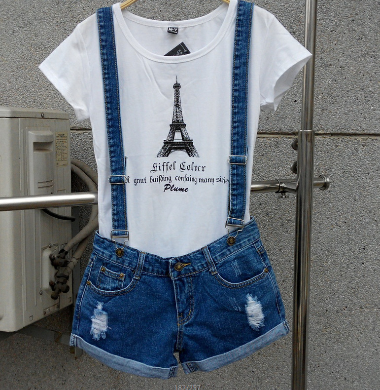 New 2017 Strap shorts jeans overalls lager size loose casual denim shorts suspenders Jumpsuits Rompers women blue hole S-XXL Bob 2015 new men s denim overalls trousers suspenders extra large biggest size s 5xl men denim rompers jumpsuits pants jeans
