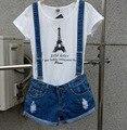Novo 2016 Cinta shorts jeans macacões plus size soltas shorts jeans casuais suspensórios Jumpsuits Rompers mulheres buraco azul S-XXL Bob