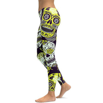 New Hot Elastic Workout Leggings Women Floral Skull Print Plus Size Fitness S Outfit Leggings Red Purple Yellow Green Blue 1