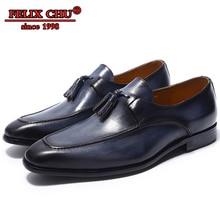 FELIX CHU Tassel Loafers Men Genuine Leather Dress Shoes Blue Formal Party Wedding Casual Footwear Summer