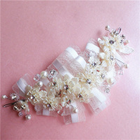 Korean Bridal Mesh Rhinestone Flower Head Flower Headdress Korean Short Hair Pearl Rhinestone Hair Accessories Wedding