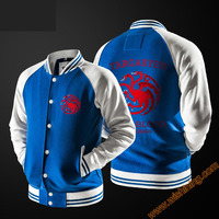 Game of Thrones Hoodie House Targaryen Dragon Baseball Sweatshirt House Stark Wolf Cloth Black Blue Cloth