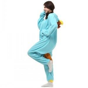 Image 4 - Unisex Perry Thú Mỏ Vịt Trang Phục Onesies Quái Vật Cosplay Đồ Ngủ Dành Cho Người Lớn Pyjamas Động Vật Ngủ Jumpsuit