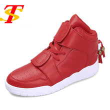 TS Fashion High Top Leather Shoes Men Casual Shoes For Men's Boots Breathable Flat Hook&Loop Ankle Boot Chaussure Homme