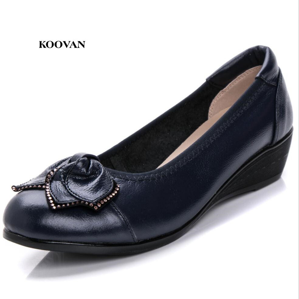 Koovan Women's Short Heel Pumps 2018 Spring Autumn Mother Mama Genuine Leather Women Slope With Shallow Mouth Rhinestone Shoes koovan women pumps 2017 spring new shallow mouth pointed shoes heel pearl buckle with high heeled ladies shoes