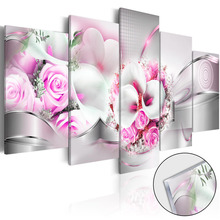 5 Pieces HD Canvas Painting Wall Art Warm pink roses abstract background Home Decoratives Paintings Framed PJMT- (30)