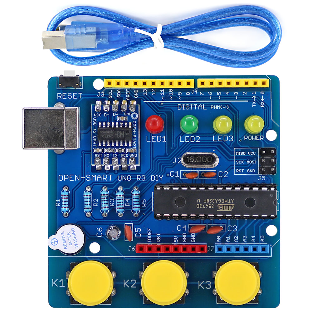 OPEN-SMART UNO R3 DIY ATmega328P Development Board Module CH340 Driver With Buzzer LED Button For Arduino UNO R3 - Blue