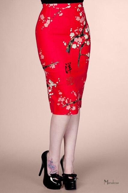 ad6dc4020efb25 € 27.01 |Femmes vintage 50 s pin up rouge fleur taille haute wiggle crayon  pastel midi jupe grande , plus la taille 4xl jupe crayon faldas jupes ...