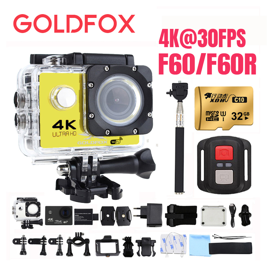 Goldfox Ultra HD 4K Action Camera 1080P 60FPS WiFi 30M Diving Go Waterproof Pro Sport Dv Bike Helmet Cam Mini Action Cam rich action camera 4k wifi ultra hd 4k 30fps 1080p 60fps 14mp go waterproof 30m mini cam pro bike video sports camera