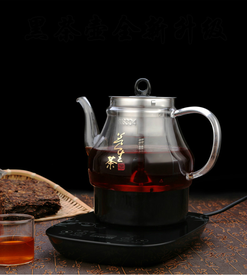 Electric kettle Brew tea scented electric Fully automatic thickened glass steam black Overheat Protection electric kettle brew tea ware black pu er glass electric thermal insulation steam overheat protection