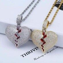 TOPGRILLZ одноцветное разбитое сердце Lced из цепочки и ожерелья Подвеска Шарм для мужчин женщин золото Цвет кубический циркон