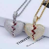 TOPGRILLZ Solide Gebrochen Herz Lced Heraus Halskette & Anhänger Charme Für Männer Frauen Gold Farbe Cubic Zirkon Halskette Hip Hop schmuck