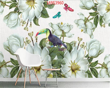beibehang Custom size fashion beautiful European retro flower 3D TV background wall painting wallpaper decorative
