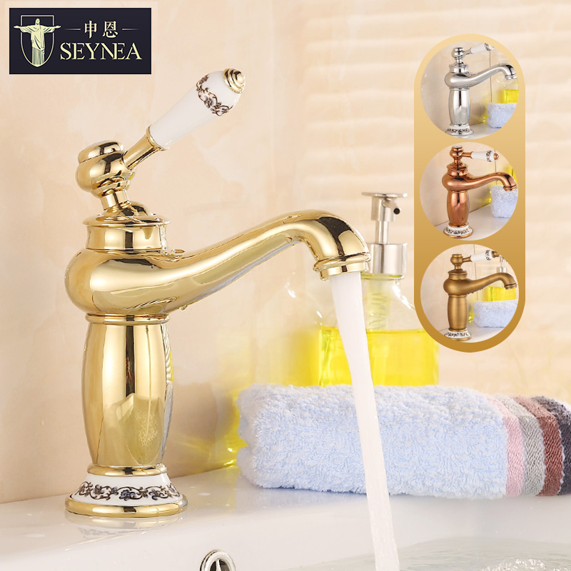 European Bronze Basin Faucet Blue and White Porcelain Hot and Cold Gold Antique Faucet European Hot Cold Water Bathroom Faucet Y european gold polish