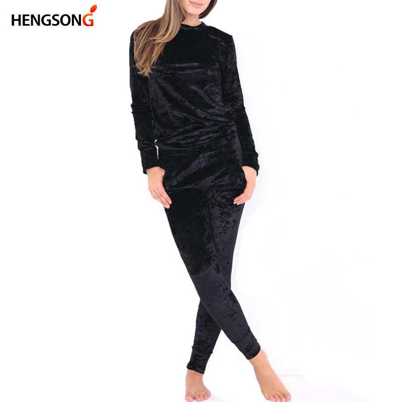 HENGSONG סתיו נשים חם קטיפה 2 שתי חתיכה להגדיר אימונית קטיפה חלק רך בית חליפת נשים כושר סט