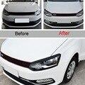 2 pcs DIY plástico ABS estilo Do Carro da frente do farol sobrancelha Adesivos Cobrir Caso Etiqueta Para Volkswagen POLO 2014-15 acessórios
