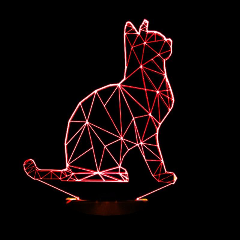 2016 New Cool 3D SPIRALISM NIGHT LAMP Cat Animal Shapes