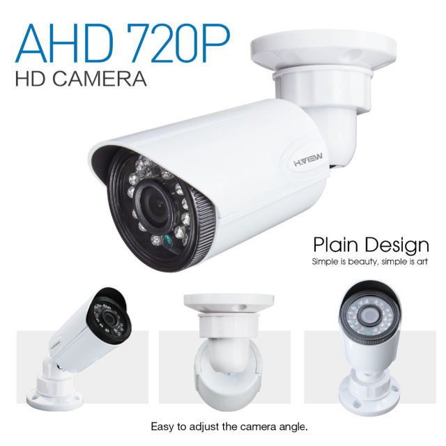 H.View 4CH CCTV System 720P HDMI AHD CCTV DVR 4PCS 1.0 MP IR Outdoor Security Camera 1200 2