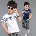 High Quality O-Neck Boys Sets 2-15Years Old Children Summer Suits Fashion Plaid Cotton Sport Suit 2017 New Children Sets