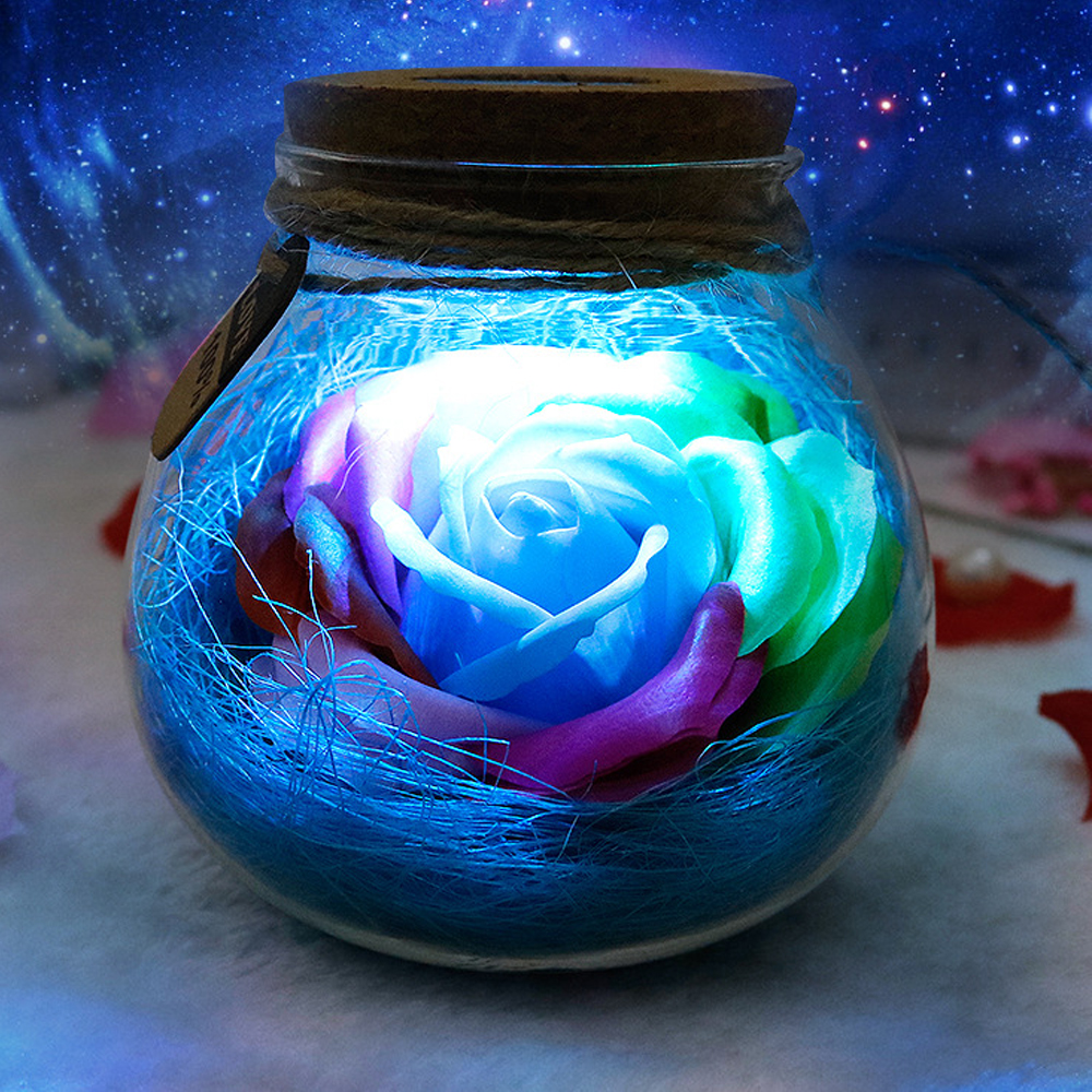 Dimmer Romantic Rose-Bulb Night-Flower-Bottle Gift Great Orb LED Holiday with Remote-Controller