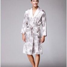Мужской s шелковый халат мужской принт пижамы атласные пижамы длинные кимоно халат для мужчин плюс размер 3XL