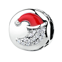 Original Charms Bracelet 925 Sterling Silver White Zircon Covered Moon Red Christmas Hat Charms DIY Jewelry