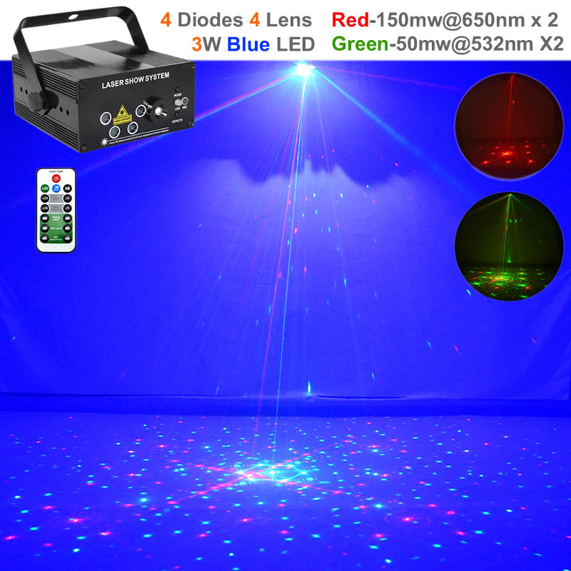 Mini Remote Music 96 Pattern Red Green Laser Effect Projector Lights 3W Blue LED Lamp DJ Home Party Show Stage Lighting L96RG цены онлайн