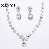Hochwertige Mode Charme Nette Schmetterling Form Funkelnden Kristall Braut Sets Halskette Schmuck Großhandel