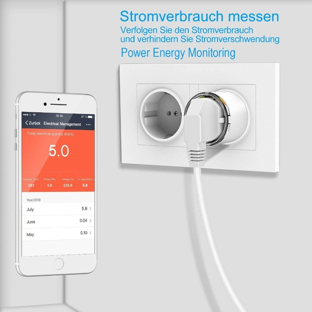 Smart Plug WiFi Control Socket 3680W 16A Power Energy Monitoring Timer Switch EU Outlet Voice Control by Alexa Google Home IFTTT 1