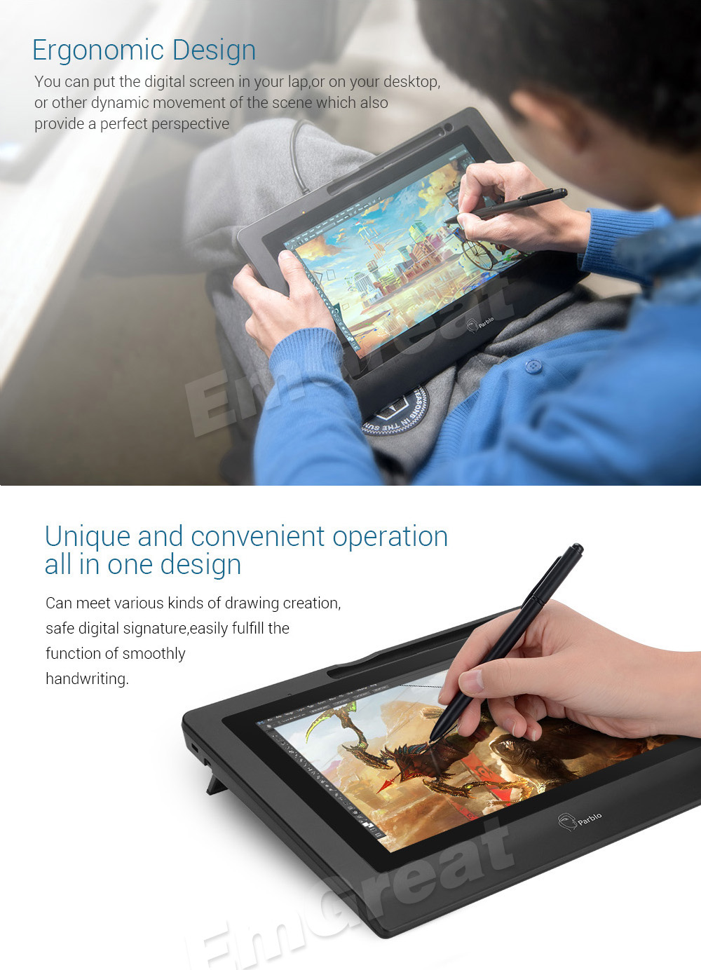 Parblo Coast 10 Graphic tablet Drawing Monitor HD IPS with Shortcut Keys and Battery-free Pen+Anti-fouling Glove