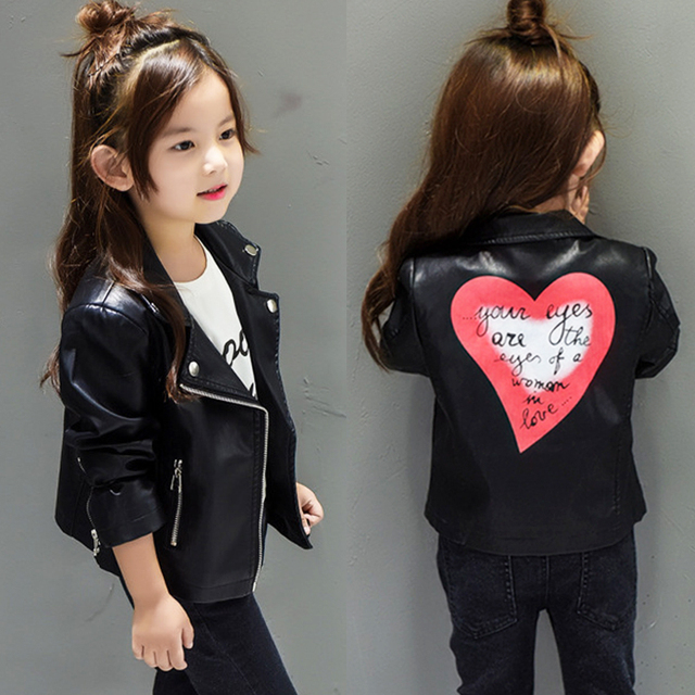 1e1093a231b1 Hot sale baby girls leather jacket autumn child toddler girl heart ...