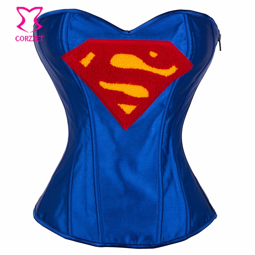 Sexy Blue Super Women's   Bustiers   &   Corsets   Side Zipper Back Lace Up Closure Overbust For Halloween Costumes Girls Wear Clothes