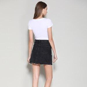Image 3 - Streetwear קו ינס חצאית אביב קיץ 2020 נשים חדש כחול שחור כיסים גבוהה מותן מיני ג ינס חצאית באיכות גבוהה חצאיות