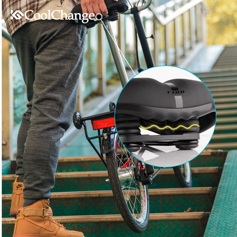 Купить с кэшбэком CoolChange Bicycle Saddle PVC Waterproof Steel Hollow Comfortable Mountain Road Bike Seat Sports Soft Cycling Saddle Men Women