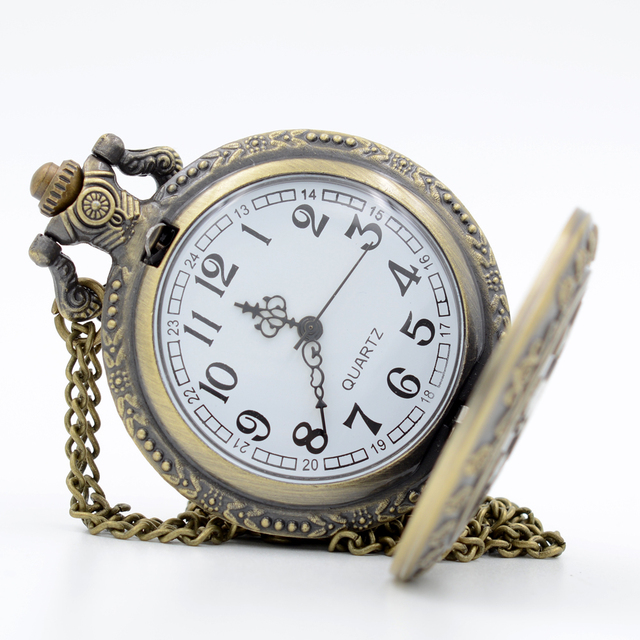 Fashion Alice in Wonderland Sculpture Bump Girl Pattern Quartz Pocket Watch Analog Pendant Necklace Men Women Watches Gift
