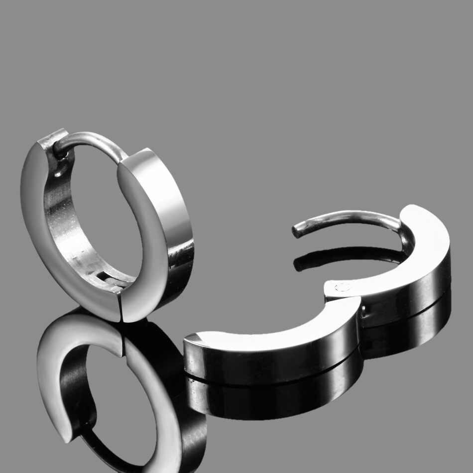 Utimtree Hot Korea Jewelry Earrings Circle Ear Ring Earrings For Women And Men Stainless Steel Female Hip Hop Hoop Earrings