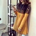 Мода Марка Дизайн Беременных Женщин Лоскутное Кружева Хлопок Платье Плюс Размер Повседневная Одежда Для Беременных Платья для Беременных М-4XL
