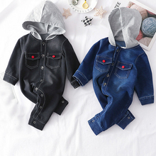 IYEAL Newborn Baby Boy Hooded Romper Cotton Long Sleeve Denim Blue Black Jumpsuit With Pockets Children Toddler Outfits 3-18M