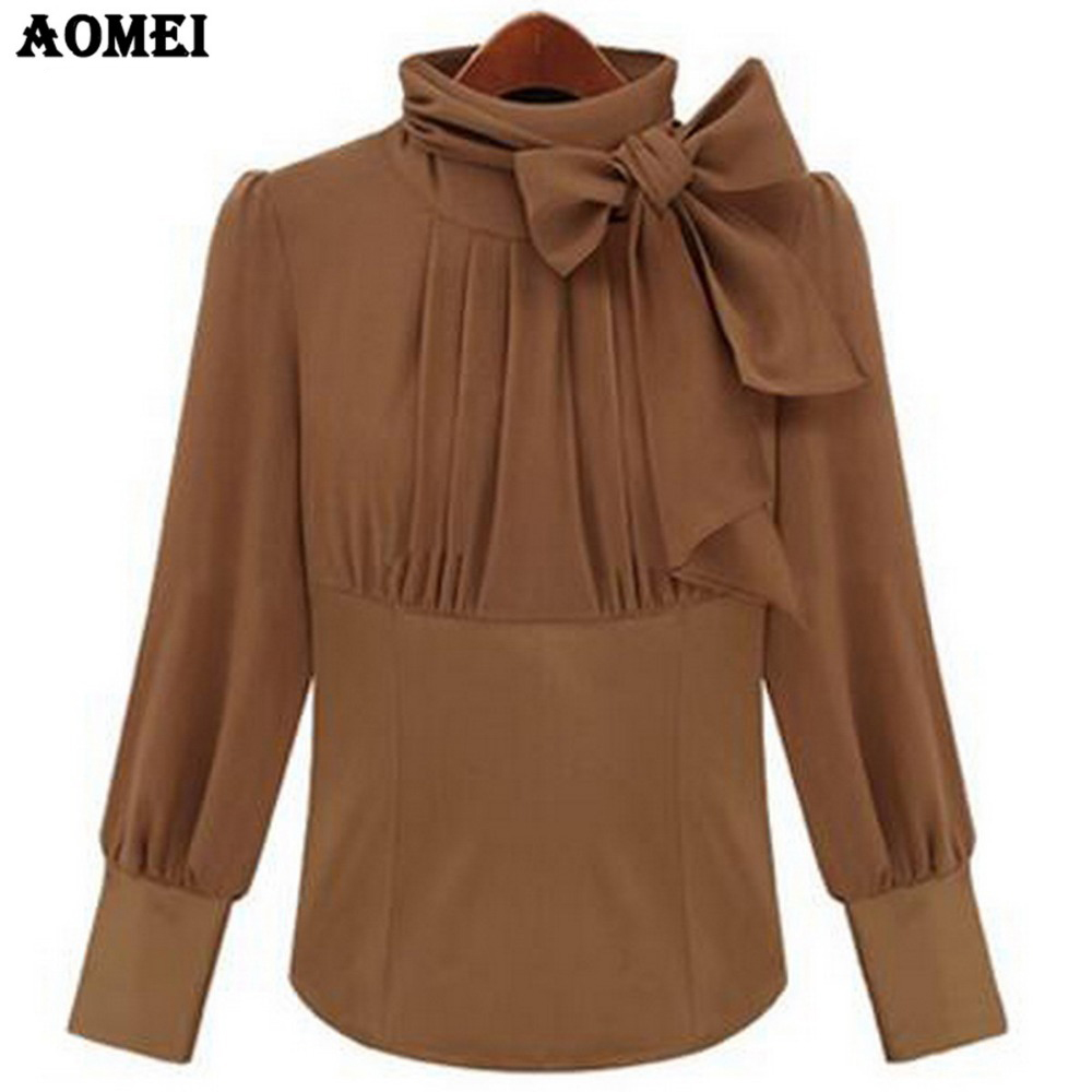 2017 Spring Turtleneck with Bowtie Blouse for Women Camel ...