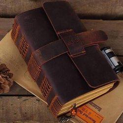 Diarios en blanco, cuaderno, libro de notas, viajero, cuero genuino grueso tamaño: 115mm x 165mm x 50mm