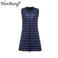 NewBang Baseball Collar Women's Long Vest Ultra Light Down Vests Female Down Coat Slim Sleeveless Plus XXXL