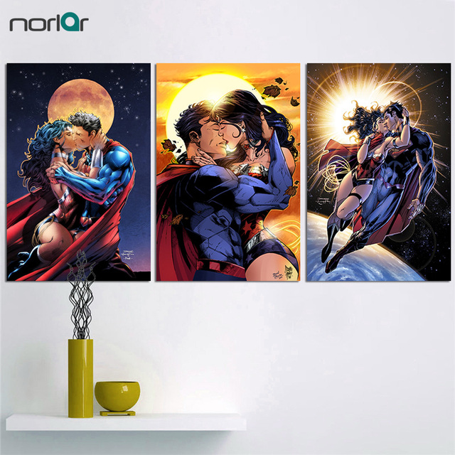 Unframed HD Print Portrait Oil Painting On Canvas Modern Abstract Superman Wonder Woman Wall Art Picture Home Decor