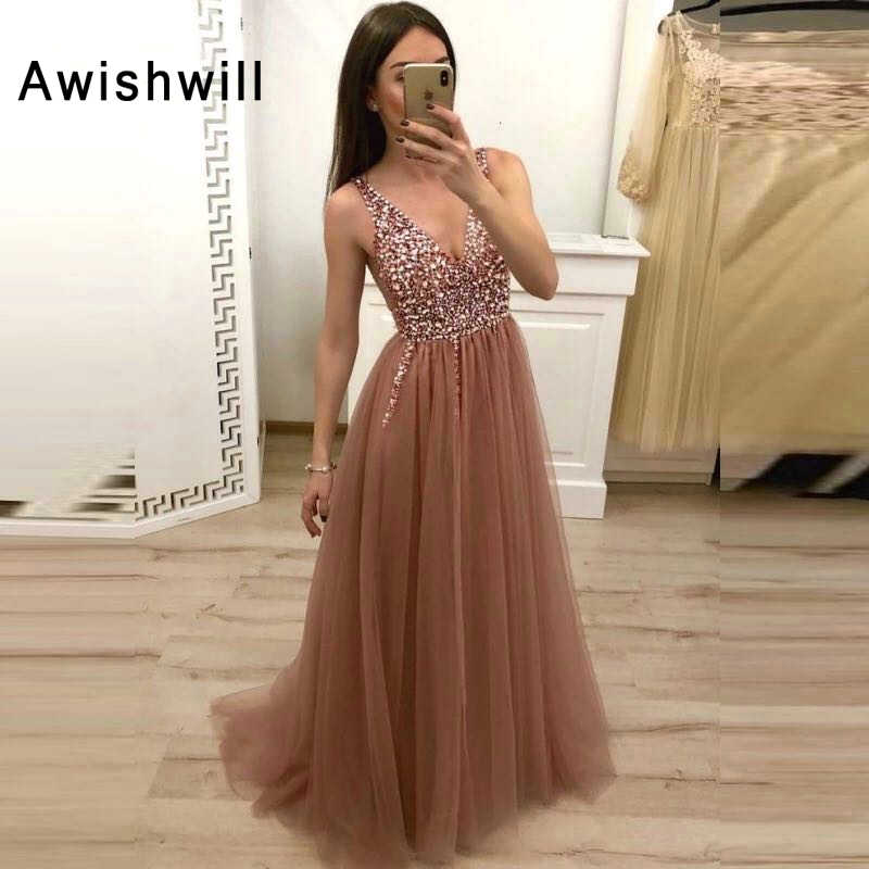 Chic Long Prom Dress Backless V-neck Tulle Sequins Beadings Evening Dress Sleeveless Elegant Women Formal Gala Dress