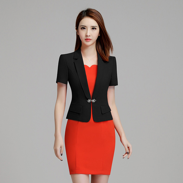 Fmasuth Women Summer Blazer Dress Suits Elegant Short Sleeve And Las Office